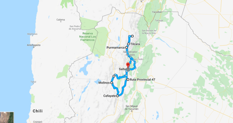 Itinéraire de notre roadtrip dans le noroeste argentin