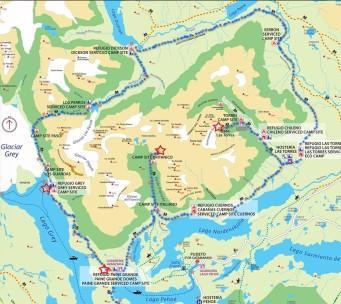 Plan du parc de Torres del Paine